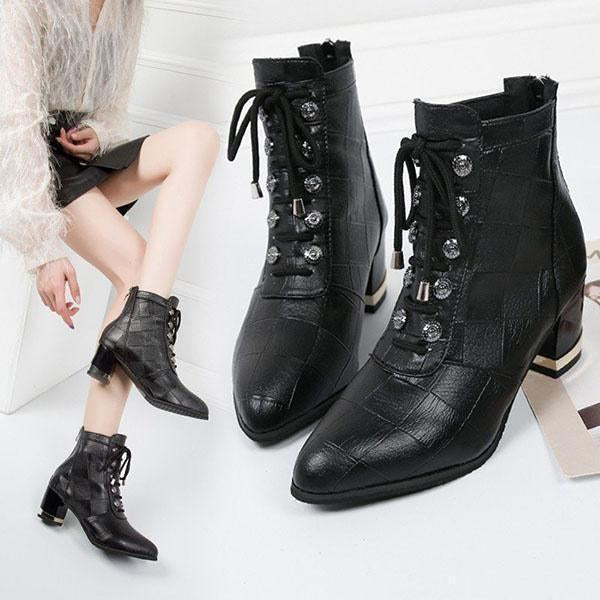Jolimall Lace Up Womens Boots Ankle Chunky Heel Boots