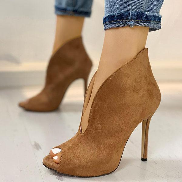 Jolimall Peep Toe V-Shape Cut Out Ankle Boots