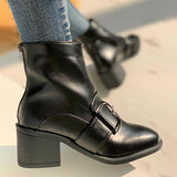 Jolimall Metal Buckle Zipper Back Chunky Heel Boots