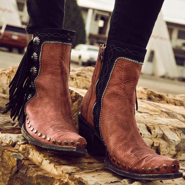 Jolimall Tassel Rivet Pointed Toe Plain Boots