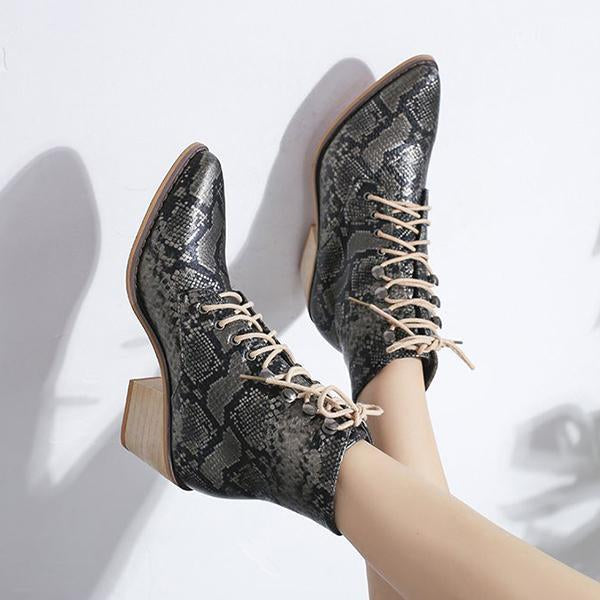 Jolimall Casual Lace-Up Ankle Pu Chunky Heel Booties