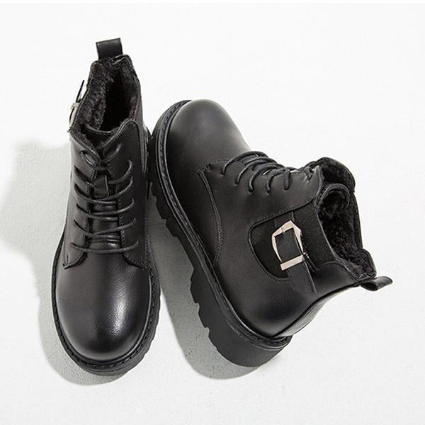 Jolimall Daily Low Heel Comfy Round Toe Lace Up Martin Boots