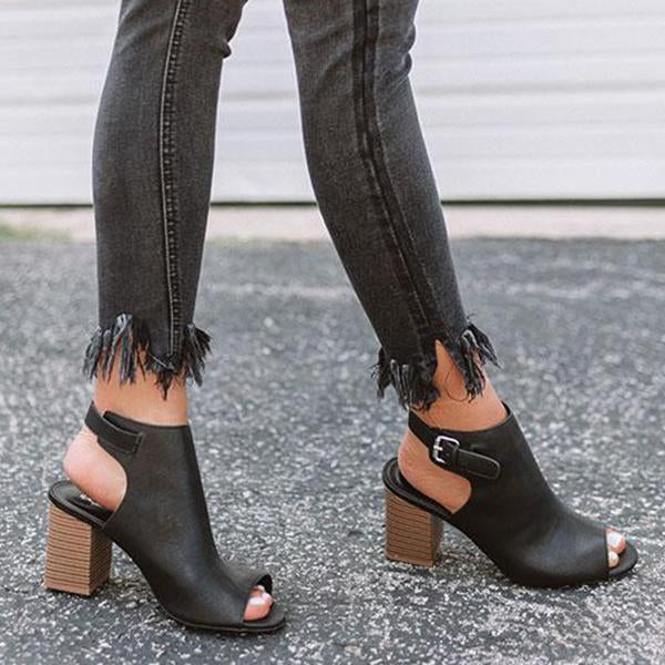 Jolimall Faux Leather Peep Toe Boots
