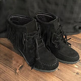 Jolimall Fashion Tassel Lace up Wedge Heel Boots