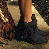 Jolimall Round Toe Retro Artificial Suede Spring/fall Tassel Women Ankle Boots