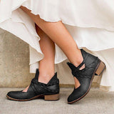 Jolimall Vintage Ankle Casual Chic Hollow Out Boots