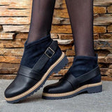 Jolimall Plain Chunky Mid Heeled Round Toe Casual Outdoor Flat Boots