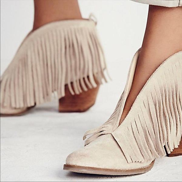 Jolimall Fringes Pointed Toe Chunky Heels Boots
