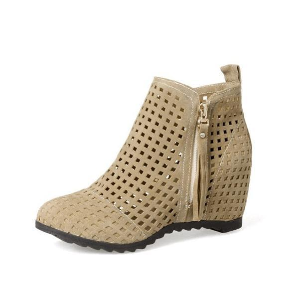 Jolimall Side Zip Openwork Breathable Ankle Boots