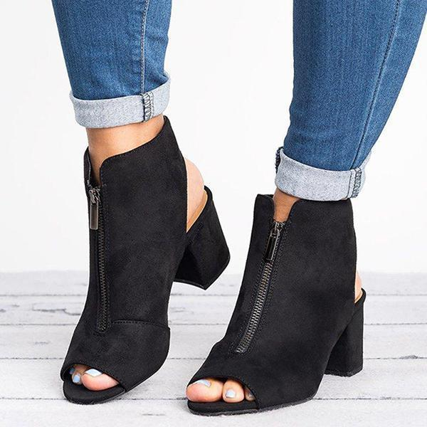 Jolimall Fashion Zipper Peep Toe Chunky Heels Booties