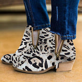 Jolimall Leopard Suede Chunky Heel Ankle Boots