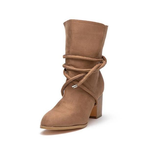 Jolimall Women High Heel Cross-tied Mid-Calf Boots