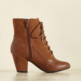 Jolimall Fashion Zipper Pointed Toe Heels Lace-Up Boots