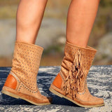 Jolimall Plus Size Tassel Suede Flat Heel Hollow Out Ankle Boots