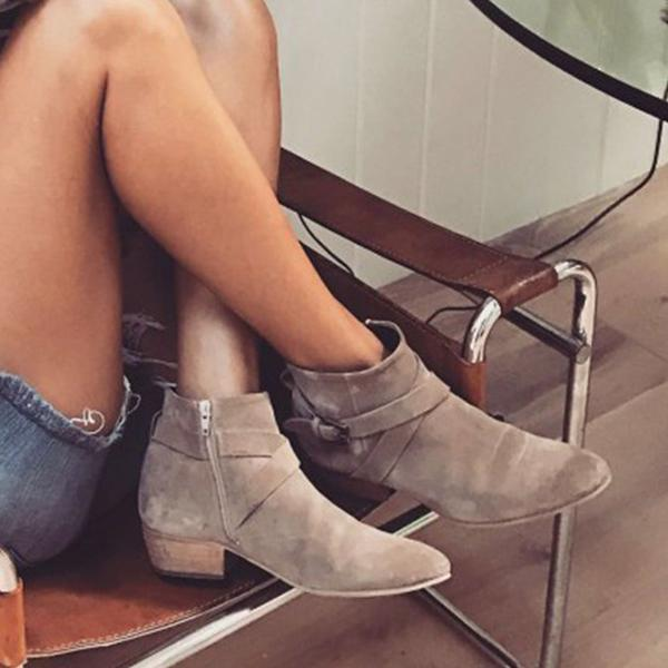 Jolimall Plus Size Suede Buckle Chunky Heel Ankle Boots