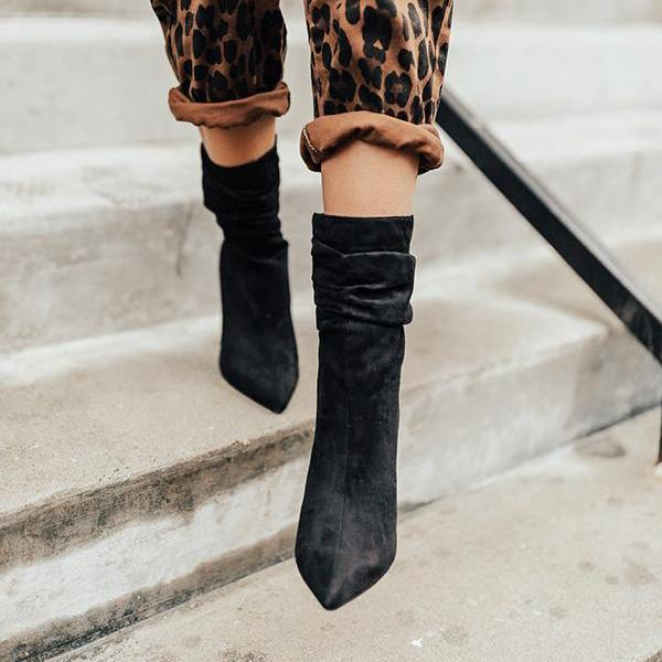 Jolimall Daily Casual Point Toe Chunky Heel Boots