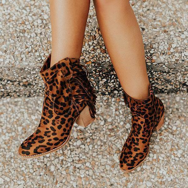 Jolimall Fashion Leopard Point Toe Tassle Boots