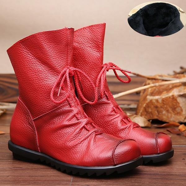 Jolimall Plain Round Toe Leather Boots Lace-Up Casual Boots