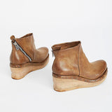 Jolimall Women Fashion Leather Slope Heel Boots