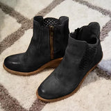 Jolimall Stylish Fall Middle Heel Hollow-Carved Women Boots