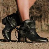 Jolimall Vintage Low Heel Ankle Casual Back-lace Boots