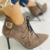 Jolimall Women Point Toe Lace-Up Thin Heels