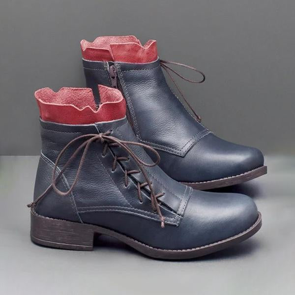 Jolimall Pu Lace-Up Low Heel Boots Fashion Ankle Boots