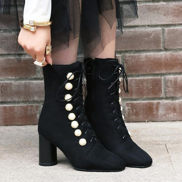 Jolimall Women Fall Faux Suede Pearl Boots Ankle Boots