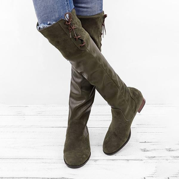 Jolimall Lace-up Boots Vintage Autumn & Winter Boots with Back Zippers