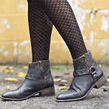Jolimall Women Retro Comfortable Low Heel Thick Boots