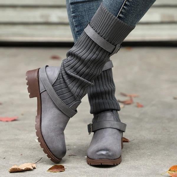Jolimall Comfy Cabin Sweater Vintage PU Paneled Casual Boots