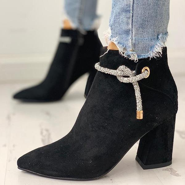 Jolimall Shiny Shoelace Detail Pointed Toe Boots