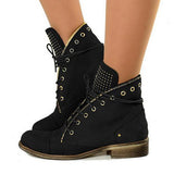 Jolimall Women Lace Up Low Heel Winter Boots