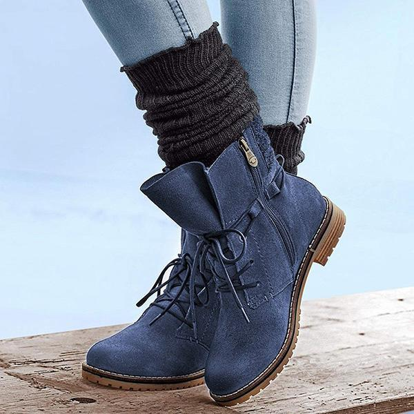 Jolimall Lace-Up Low Heel Suede Womens Casual Short Boots