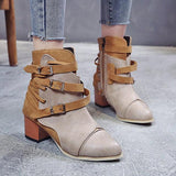 Jolimall Women Casual Buckle Ankle Boots