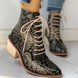 Jolimall Pointed Toe Lace-up Snakeskin Chunky Heeled Boots