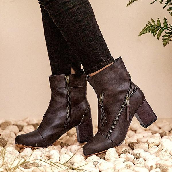 Jolimall Zipper Decorative Chunky Heel Ankle Boots