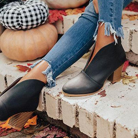 Jolimall Faux Leather Slip on Boots(Pre-Sale) - Jolimall