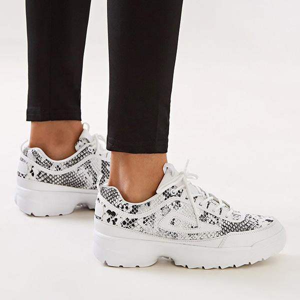 Jolimall Lace-Up Front Snakeskin Print Chunky Sneakers