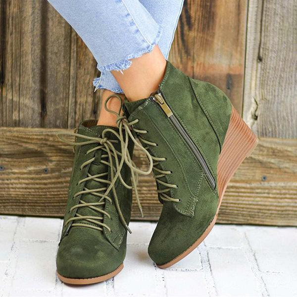 Jolimall Lace-Up Stacked Wedge Booties Comfort Ankle Boots