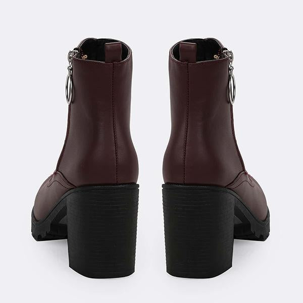 Jolimall Heavy Sole Side Zip Block Heel Chelsea Ankle Boots