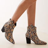 Jolimall Point Toe Snakeskin Zip Back Chunky Boots