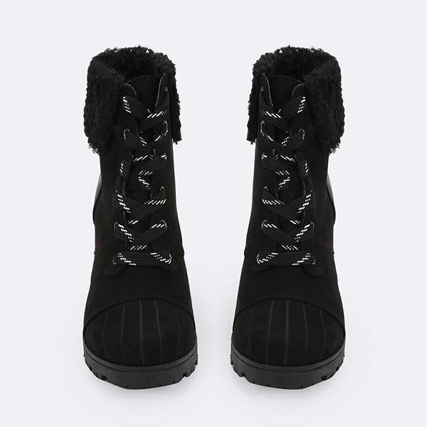 Jolimall Faux Sherpa Collar Lace Up Stacked Heel Boots