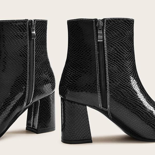Jolimall Point Toe Snakeskin Print Side Zip Boots