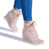 Jolimall Adjustable Front Laces Shoes Zipper Wedge Sneakers