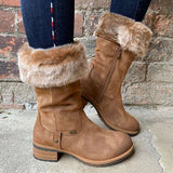 Jolimall Suede Mid-Calf Snow Boots Women Warm Work Daily Casual Boots