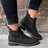 Jolimall Womens Round Toe Low Heel Slip-On Leather Boots