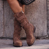 Jolimall Comfy Low Heel Artificial Suede Mid- Calf Boots