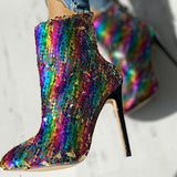 Jolimall Colorful Sequins Design Thin Heels Boots