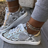 Jolimall Snakeskin Star Design Lace-Up Sneakers